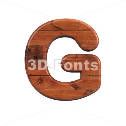 Upper-case wooden character G - Capital 3d font - 3d-fonts