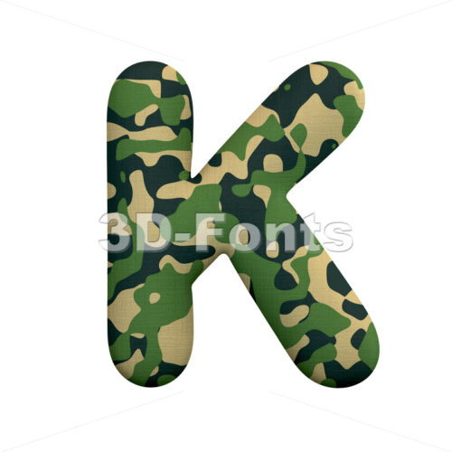Uppercase army letter K - Capital 3d font - 3d-fonts
