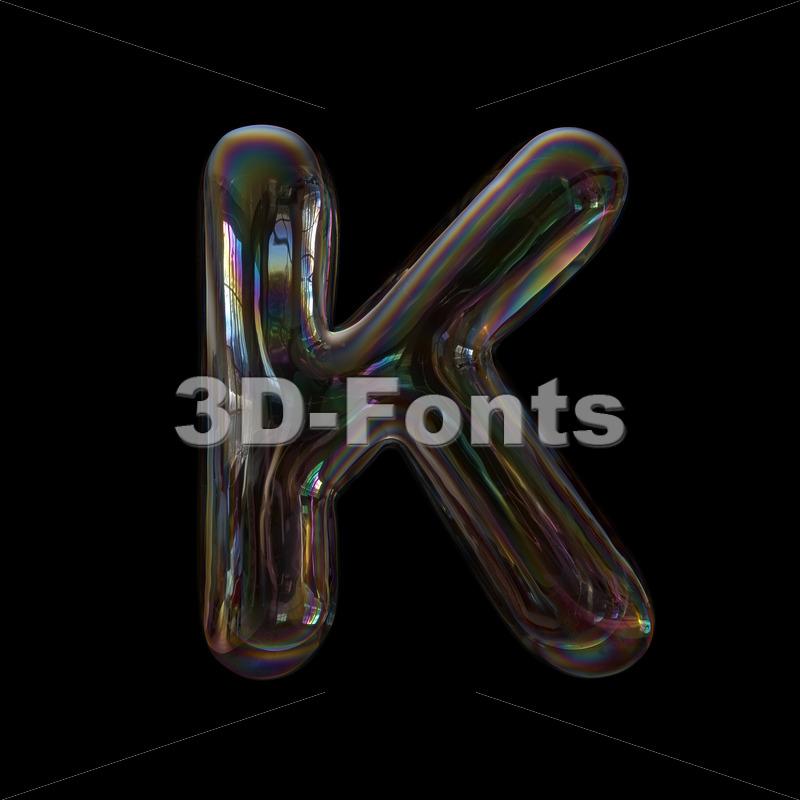Uppercase bubble letter K - Capital 3d font - 3d-fonts