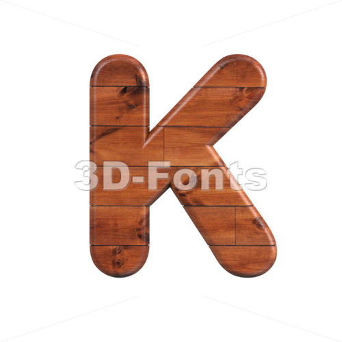 Uppercase wooden letter K - Capital 3d font - 3d-fonts
