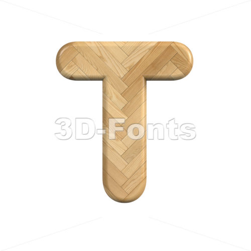 Wood character T - Uppercase 3d letter - 3d-fonts