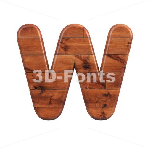 Wooden parquet font W - Capital 3d letter - 3d-fonts