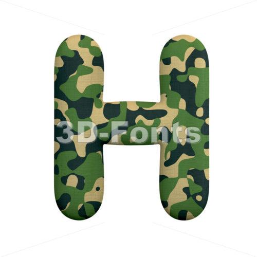 army 3d letter H - Upper-case 3d character - 3d-fonts