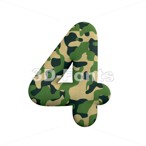 army digit 4 - 3d number - 3d-fonts