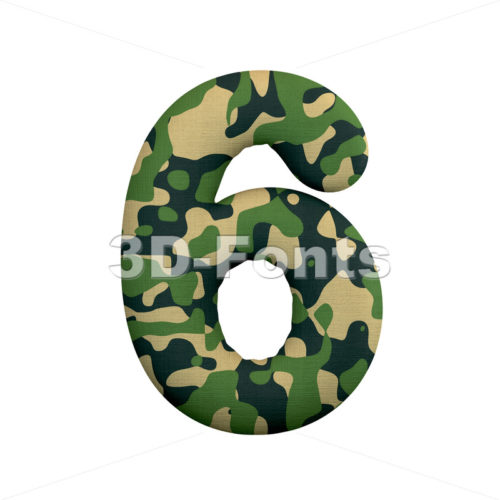 army digit 6 - 3d number - 3d-fonts
