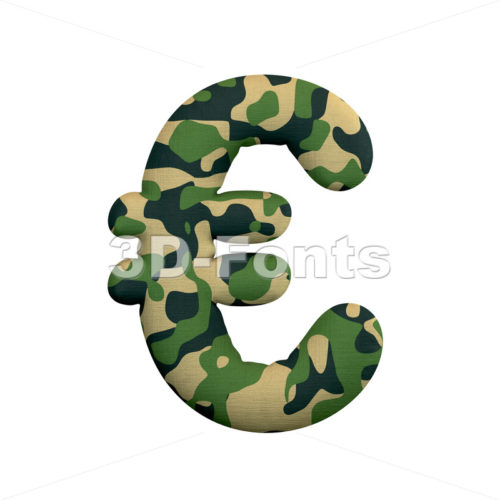 army euro currency sign - 3d business symbol - 3d-fonts