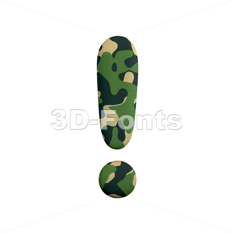 army exclamation point - 3d symbol - 3d-fonts