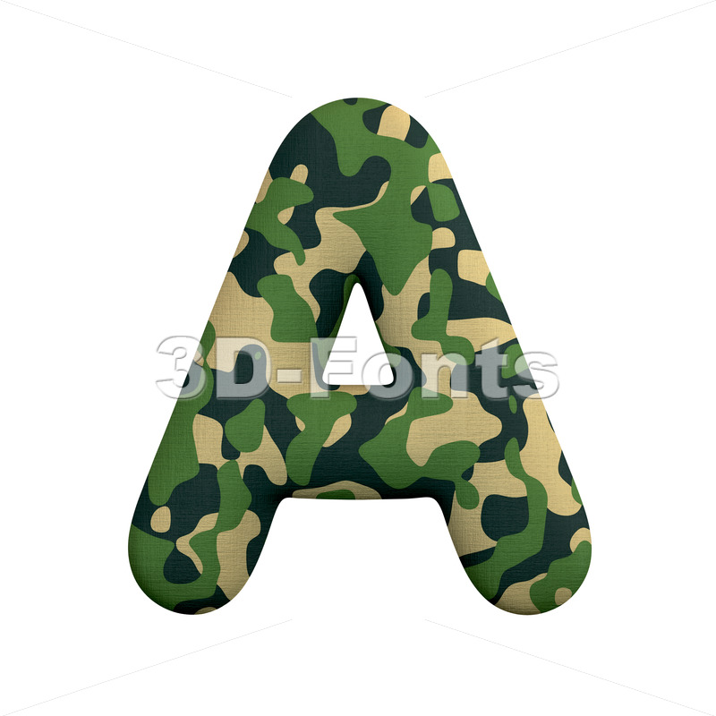 army letter A - Capital 3d character - 3d-fonts