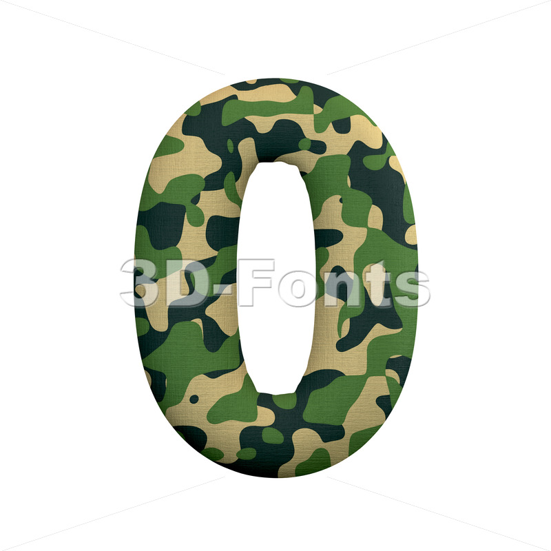 army number 0 - 3d digit - 3d-fonts