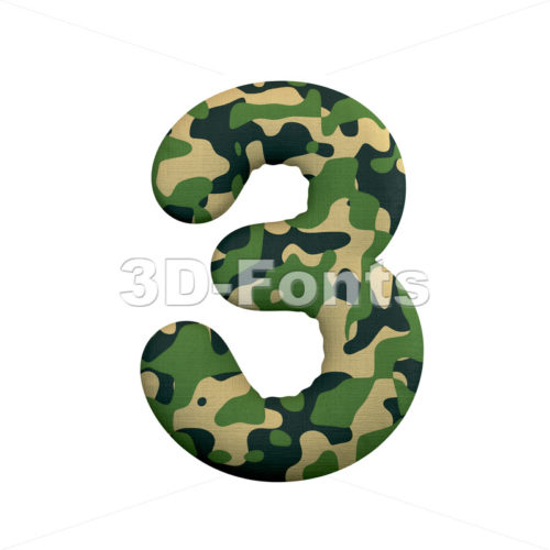army number 3 - 3d digit - 3d-fonts