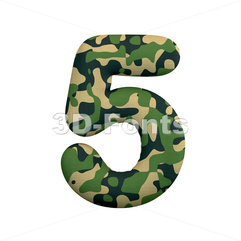 army number 5 - 3d digit - 3d-fonts
