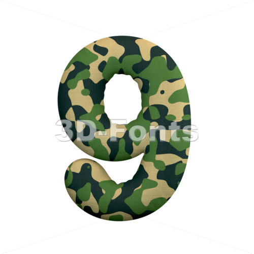 army number 9 - 3d digit - 3d-fonts