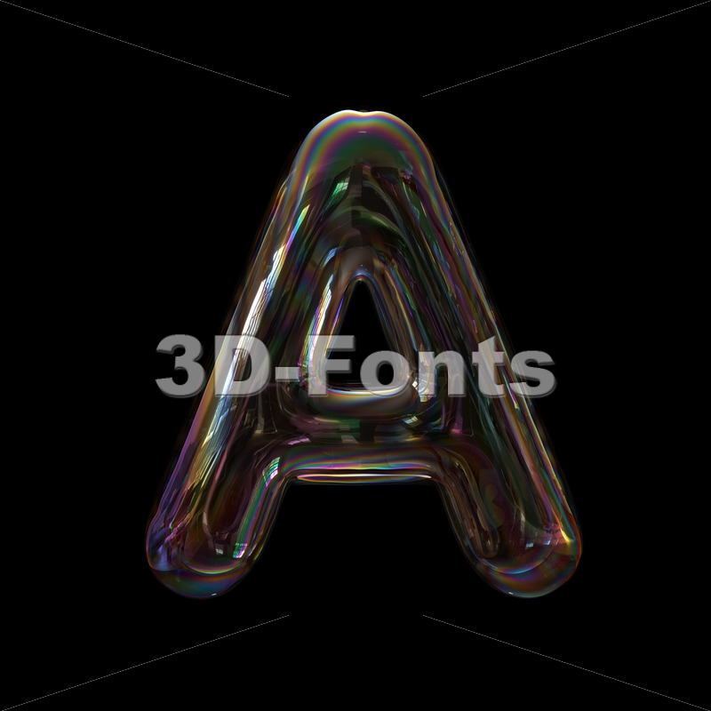 bubble letter A - Capital 3d character - 3d-fonts