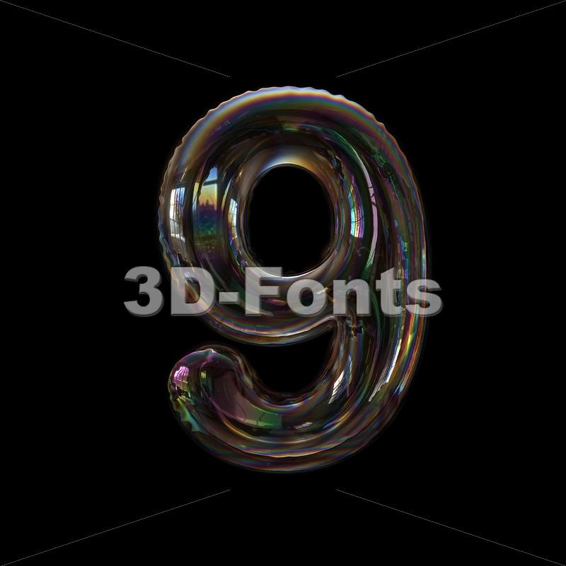 bubble number 9 - 3d digit - 3d-fonts