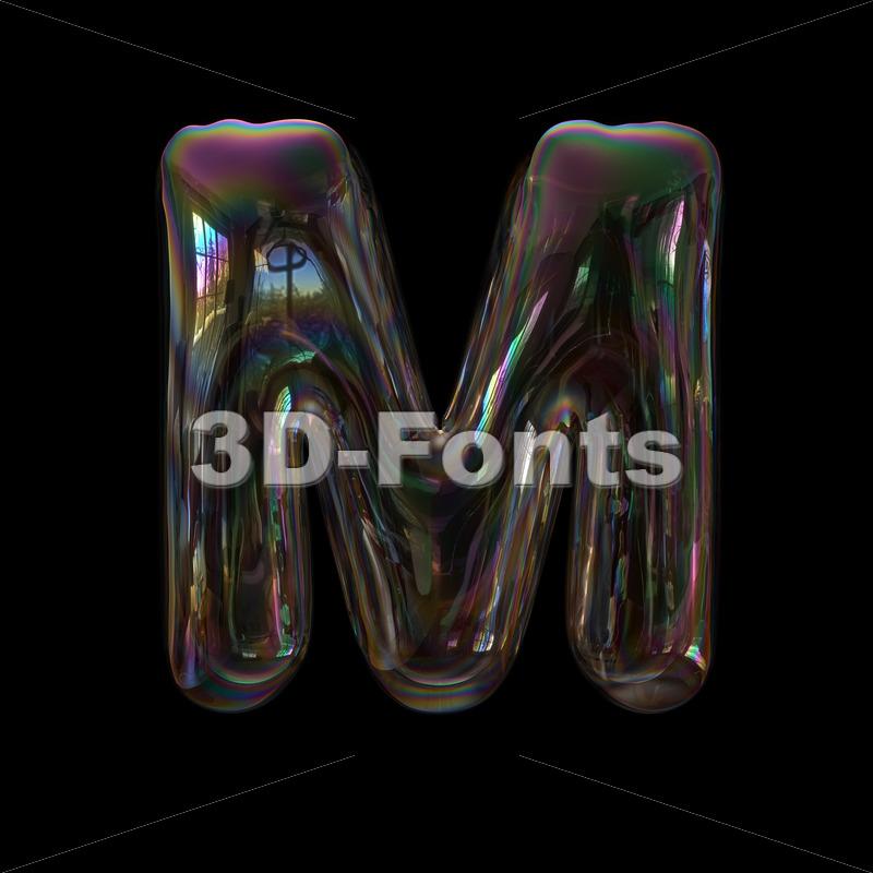 bubble writing character M - Capital 3d letter - 3d-fonts