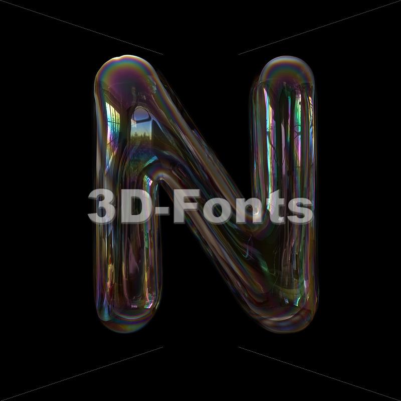 bubble writing font N - Capital 3d letter - 3d-fonts