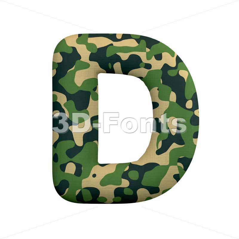 camo font D - Capital 3d character - 3d-fonts