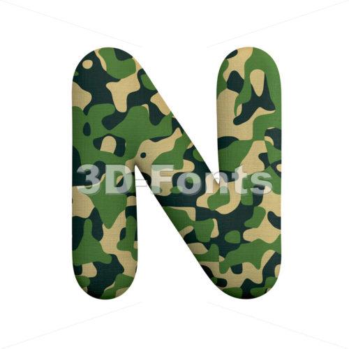 camo font N - Capital 3d letter - 3d-fonts