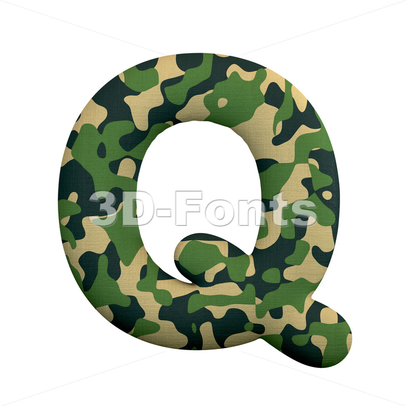 camo font Q - Upper-case 3d character - 3d-fonts