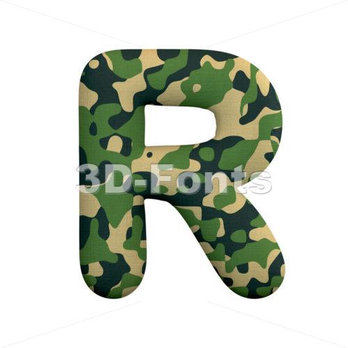 camo letter R - Uppercase 3d font - 3d-fonts
