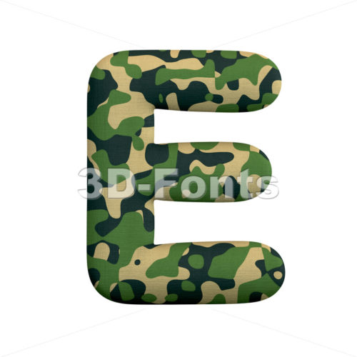 camouflage character E - Capital 3d letter - 3d-fonts