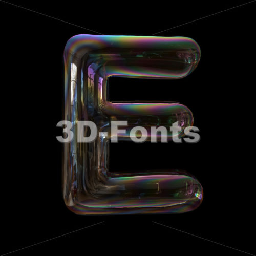 soap bubble character E - Capital 3d letter - 3d-fonts