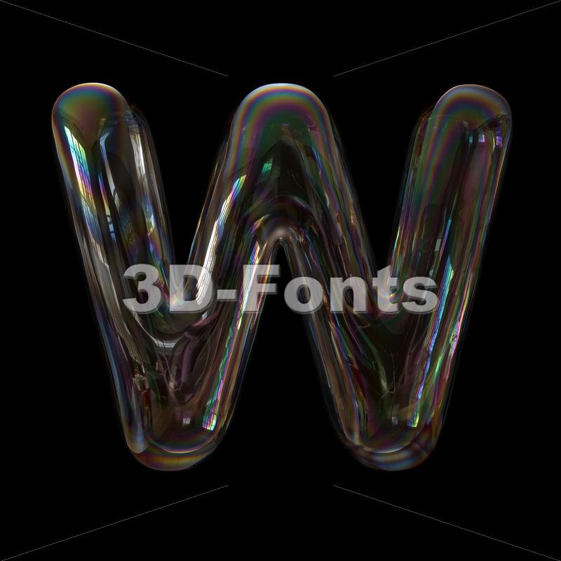 soap bubble font W - Capital 3d letter - 3d-fonts