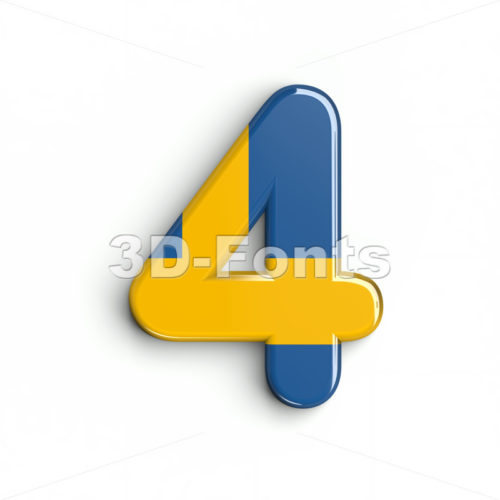sweden digit 4 - 3d number - 3d-fonts