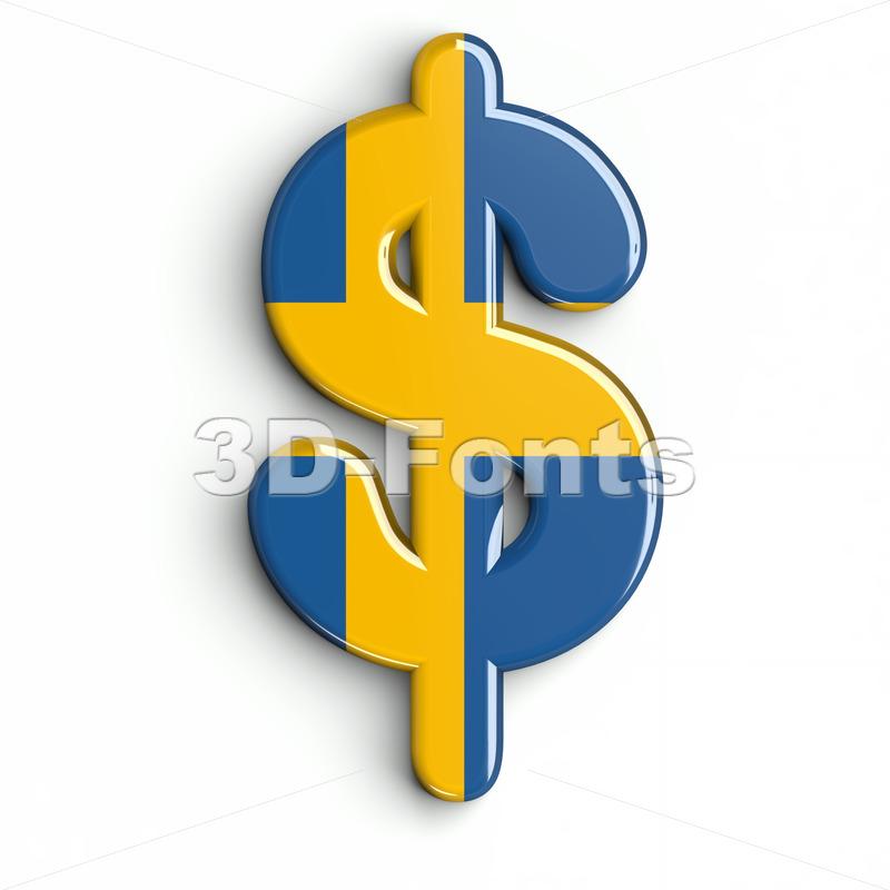 sweden dollar currency sign - 3d money symbol - 3d-fonts