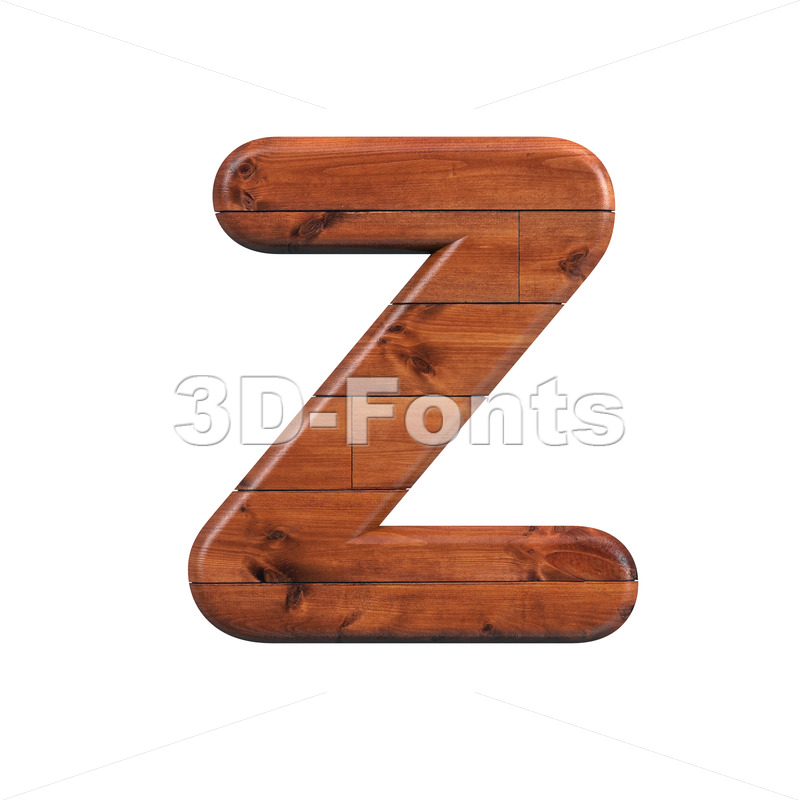 wood alphabet letter Z - Upper-case 3d font - 3d-fonts