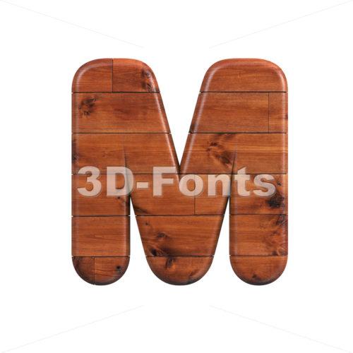 wood character M - Capital 3d letter - 3d-fonts