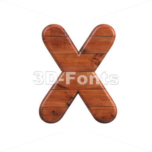 wood character X - Upper-case 3d letter - 3d-fonts