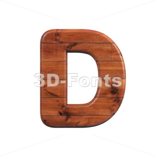 wood font D - Capital 3d character - 3d-fonts