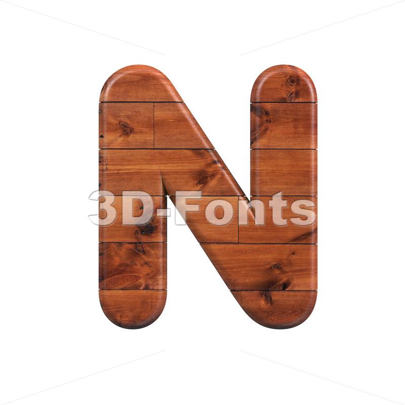 wood font N - Capital 3d letter - 3d-fonts