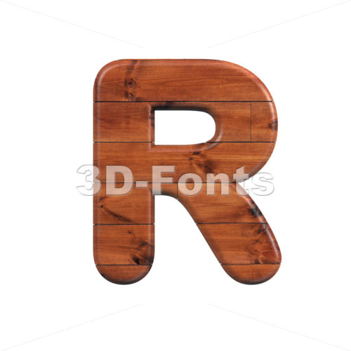 wood letter R - Uppercase 3d font - 3d-fonts