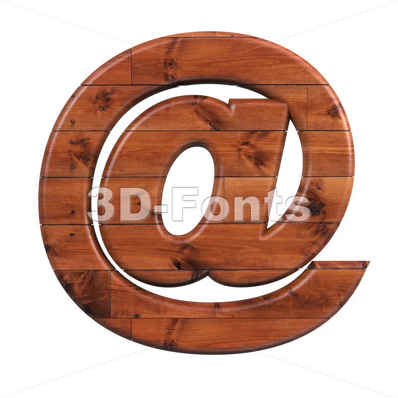 wooden at-sign - 3d arobase symbol - 3d-fonts