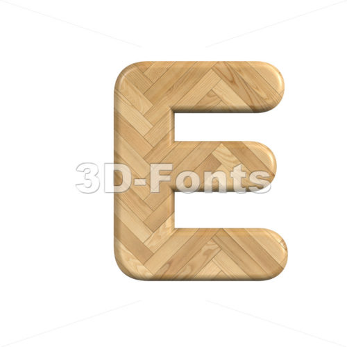 wooden character E - Capital 3d letter - 3d-fonts