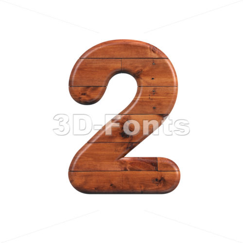 wooden digit 2 - 3d number - 3d-fonts