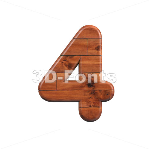 wooden digit 4 - 3d number - 3d-fonts