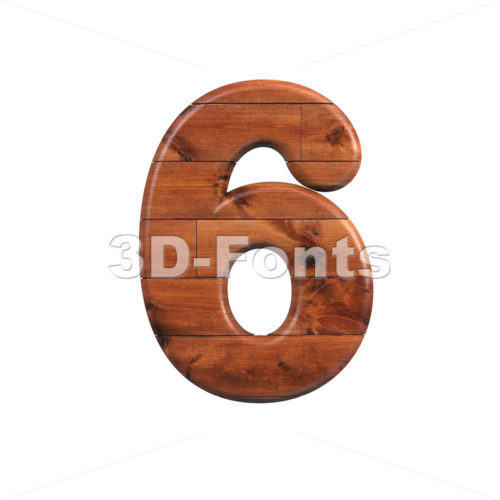 wooden digit 6 - 3d number - 3d-fonts