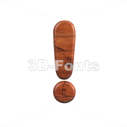 wooden exclamation point - 3d symbol - 3d-fonts