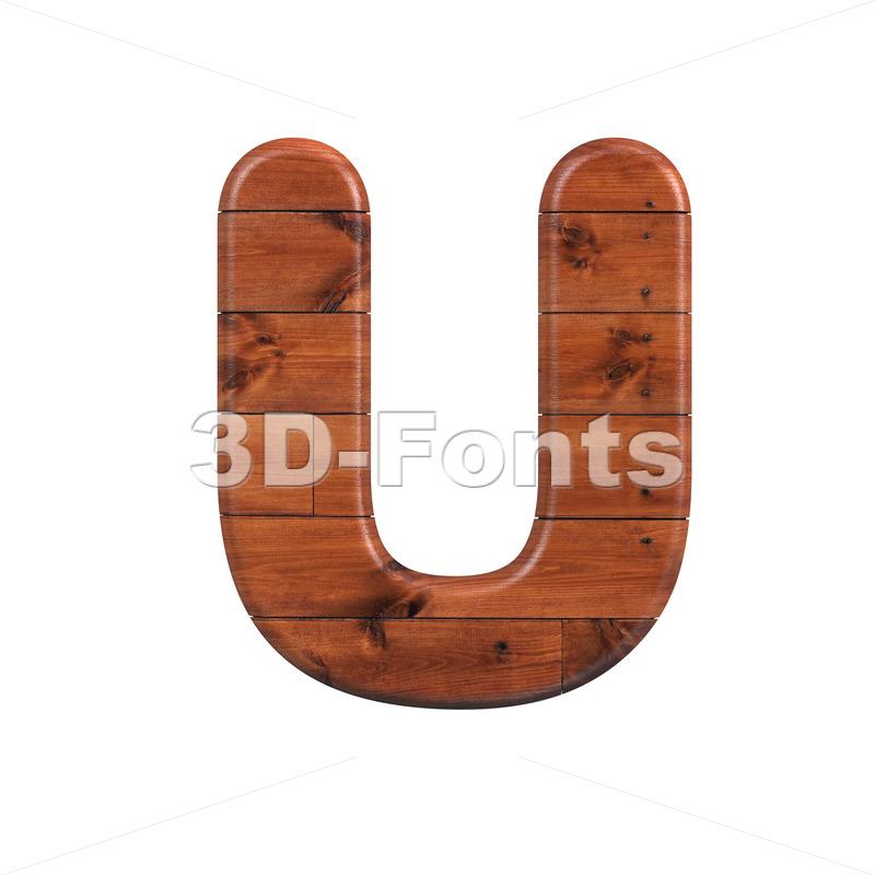 wooden letter U - Capital 3d font - 3d-fonts