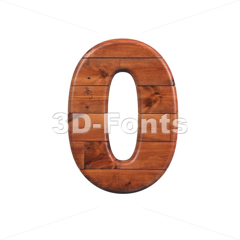 wooden number 0 - 3d digit - 3d-fonts