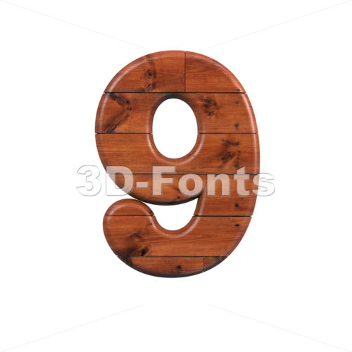wooden number 9 - 3d digit - 3d-fonts