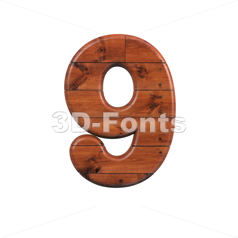 wooden number 9 - 3d digit - 3d-fonts