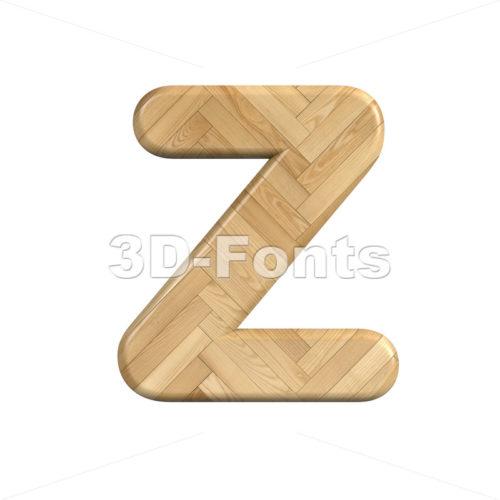 wooden parquet alphabet letter Z - Upper-case 3d font - 3d-fonts