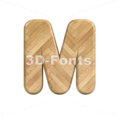 wooden parquet character M - Capital 3d letter - 3d-fonts