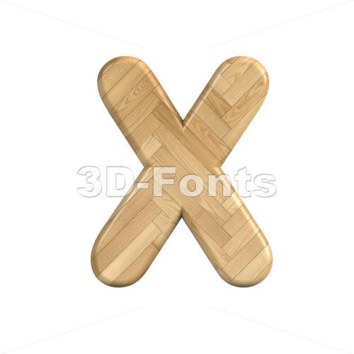 wooden parquet character X - Upper-case 3d letter - 3d-fonts