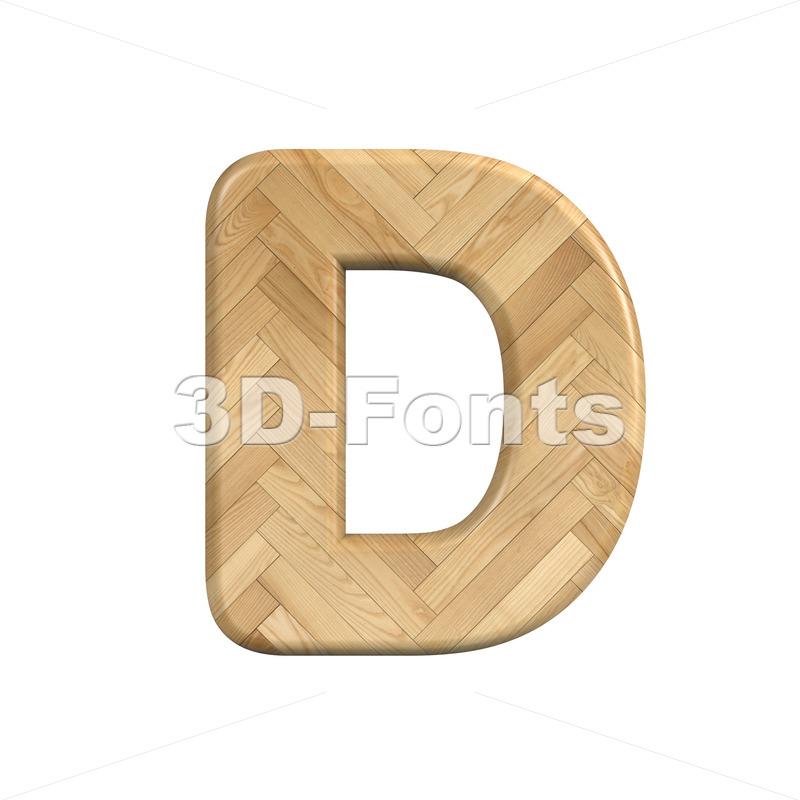 wooden parquet font D - Capital 3d character - 3d-fonts
