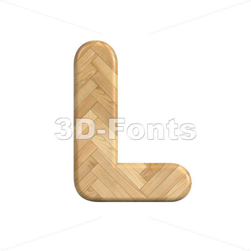 wooden parquet font L - Capital 3d character - 3d-fonts